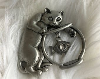 Vintage Signed JJ Pewter cat in fish bowl Brooch pin Vintage jewelry