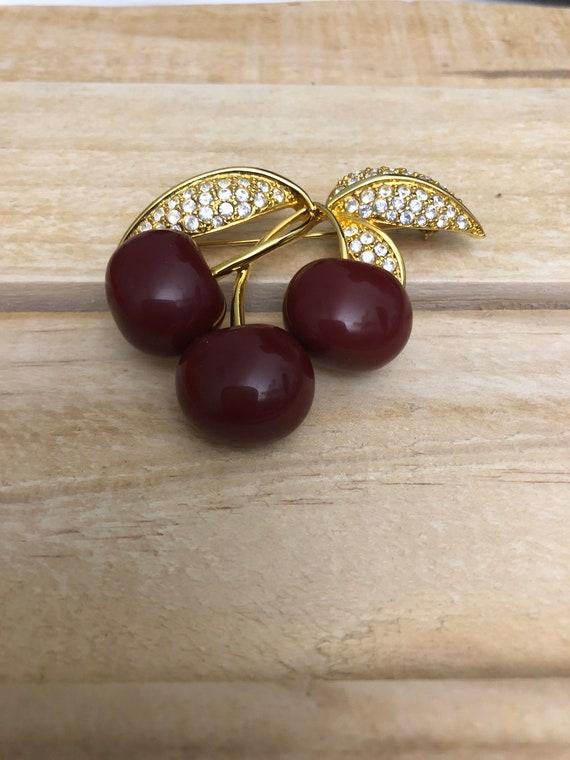 Joan Rivers Gold Tone Rhinestone Cherry Brooch