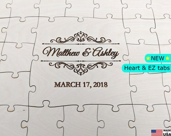Guest book puzzle, wedding guest book puzzle, wooden puzzle, guest book alternative, puzzle guest book, jigsaw guest book, blank puzzle