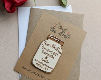 Mason jar save the date magnet with Kraft card and envelopes, personalized save the date refrigerator magnet, change the date magnet, floral