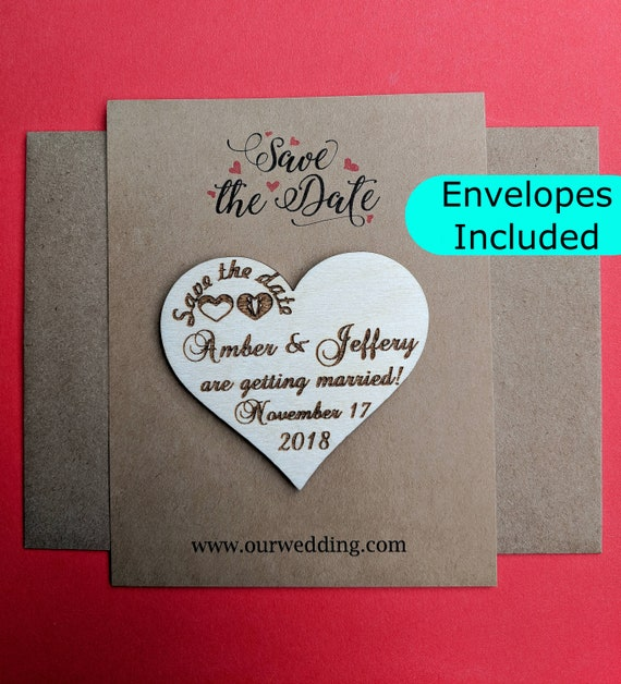 Heart Save The Date Magnet Set With Envelope Rustic