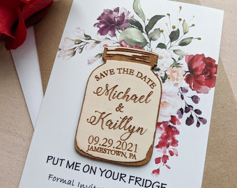 Save the date magnet mason jar with floral card and envelope, personalized wood magnet, rustic wedding announcement, change the date magnet