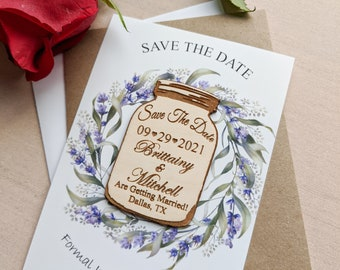 save the date magnet mason jar, Mason jar save the date magnet, personalized save the date magnet with  card and envelope, rustic wedding