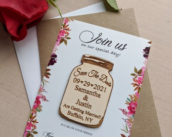 Mason jar save the date Magnet, personalized save the date refrigerator magnet with envelopes and cards, change the date magnet, floral card