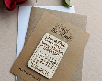 Calendar save the date magnet with Kraft cards and envelopes, personalized save the date refrigerator magnet, change the date magnet, floral