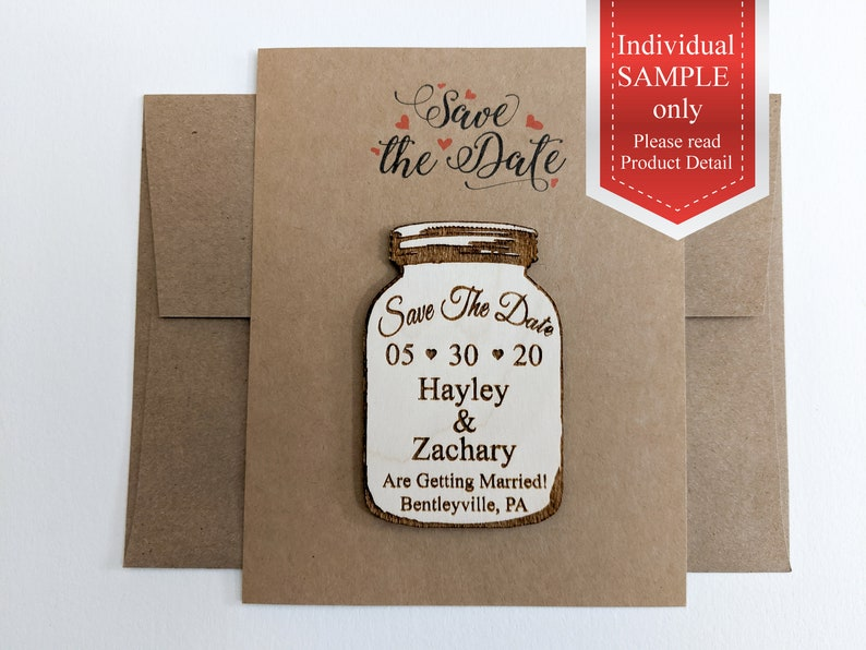 Sample of a mason jar save the date magnet image 0