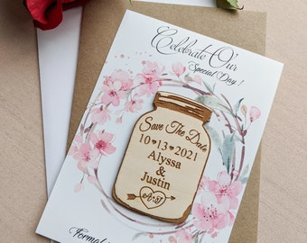 Mason jar save the date magnet, personalized save the date refrigerator magnet with envelopes and cards, change the date magnet, unique