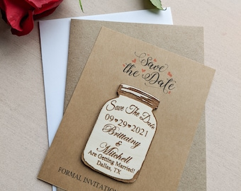 Mason jar save the date magnet with Kraft cards and envelopes, personalized save the date refrigerator magnet, country rustic theme, floral