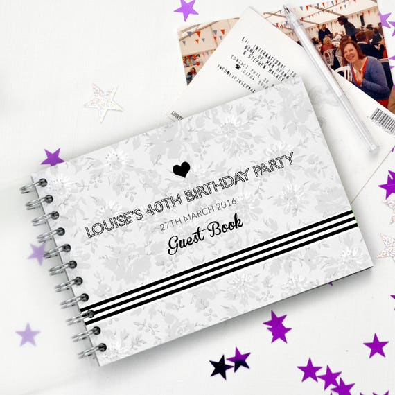 personalised 40th birthday guest book personalized 40th book etsy