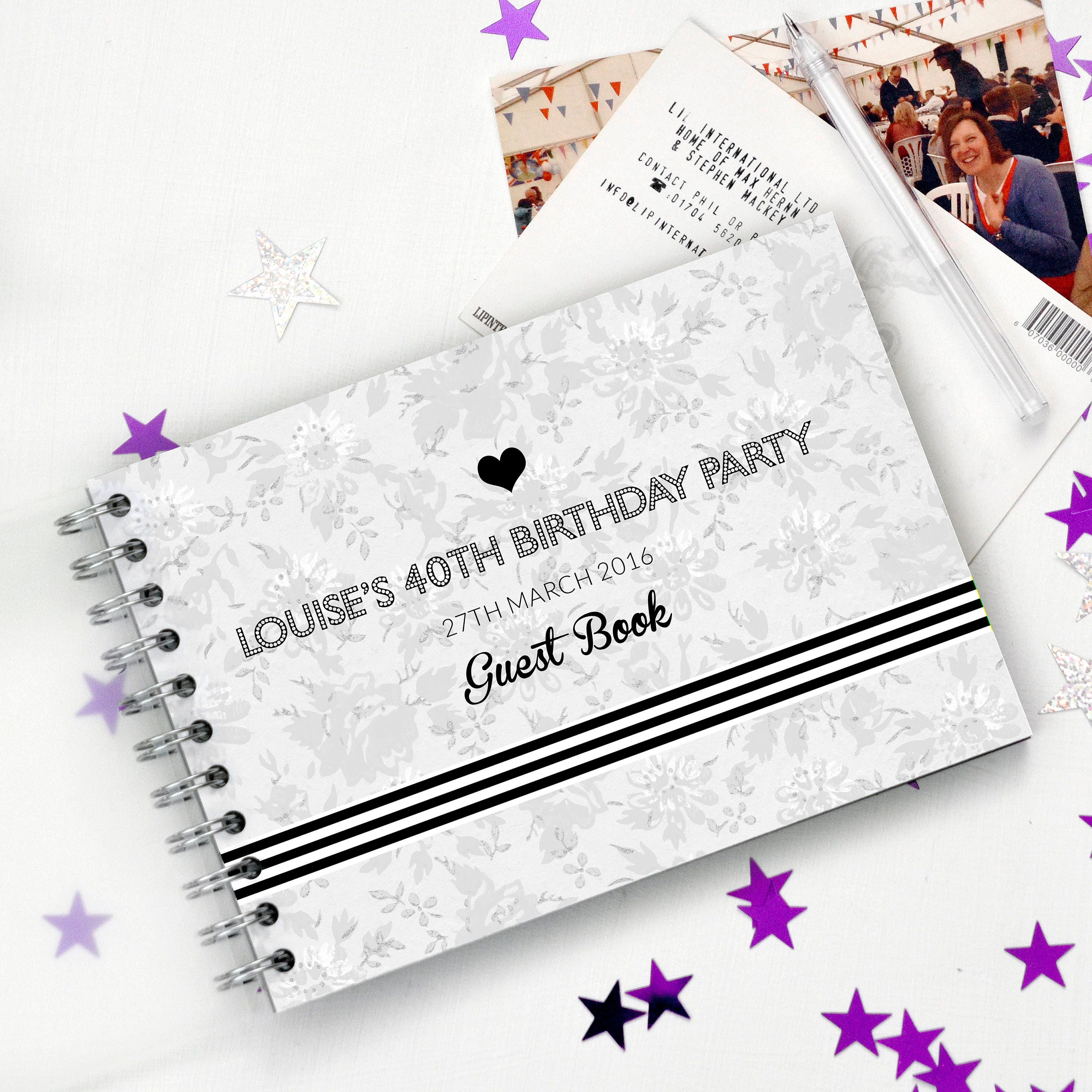 40th birthday guest book