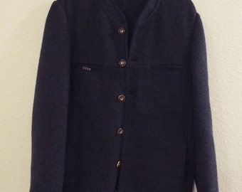 Vintage Litza Worsted Wool Sweater Jacket with Original Pin