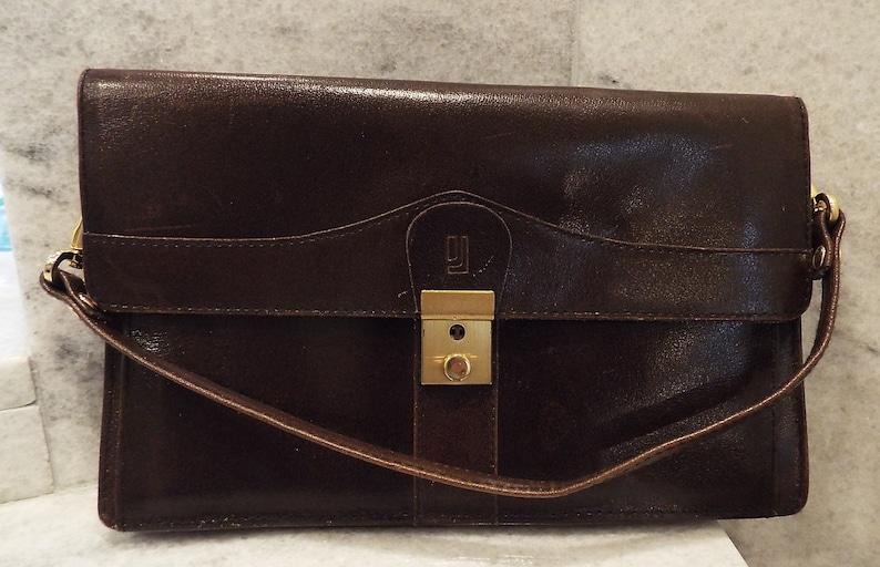7dfaa2a9cec8 Vintage Jafferjees brown leather handbag evening clutch