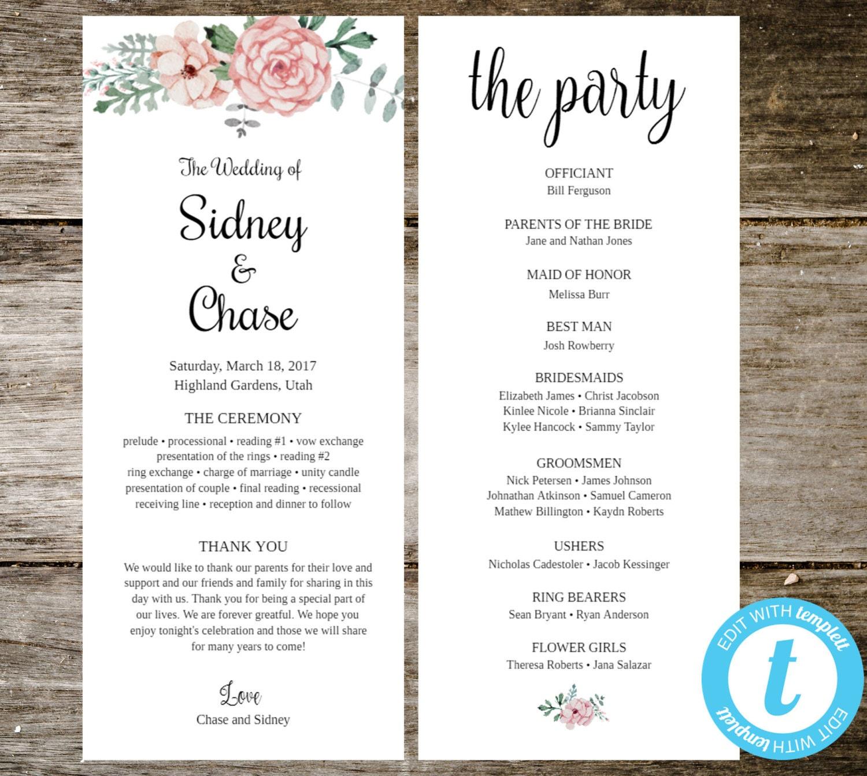 Blumen Hochzeit Programm Vorlage Instant-Download
