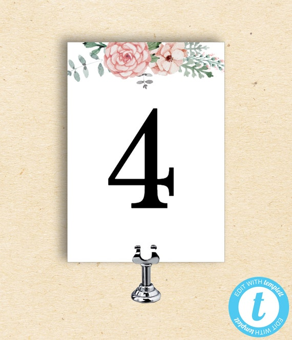 floral table number template table number card with flowers