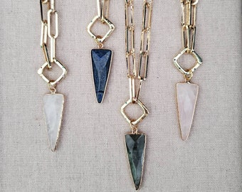 Gemstone Triangle Arrow Necklace, Gold Chunky Paperclip Chain Necklace, Carabiner Necklace, Lapis Rose Quartz Labradorite Pendant Necklace