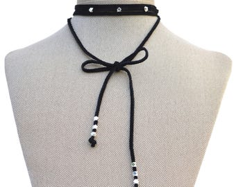 Stevie Gold Silver Faceted Beads Suede Wrap Choker Necklace // Black Brown Beige Genuine Leather // Versatile Lariat Y Necklace Beaded