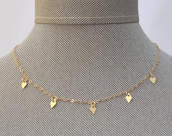 Gold Mini Charm Diamond Multi Tags Dangle Choker Necklace // Gold Filled Dainty Boho Layering Necklace Minimalist