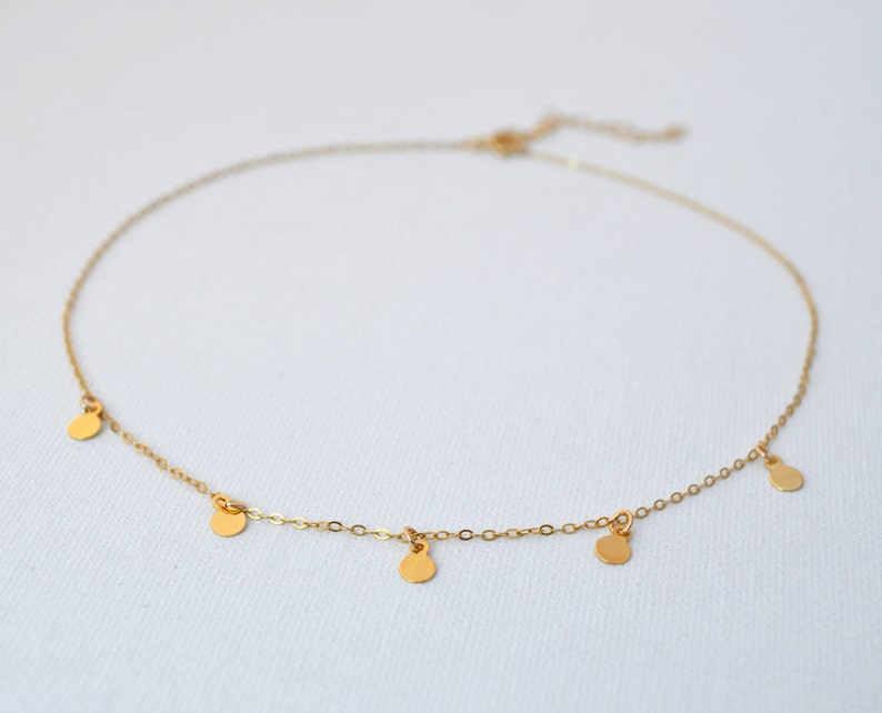 Gold Mini Charm Coin Circle Fringe Tags Delicate Dangle Choker Tattoo Necklace  Gold Filled Non-Tarnish Dainty Boho Layering Minimalist