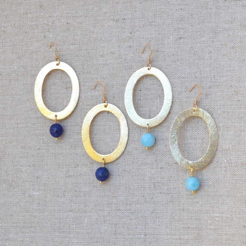 Gold Oval Hoop Round Pendant Lapis Lazuli  Aqua Gemstone image 0