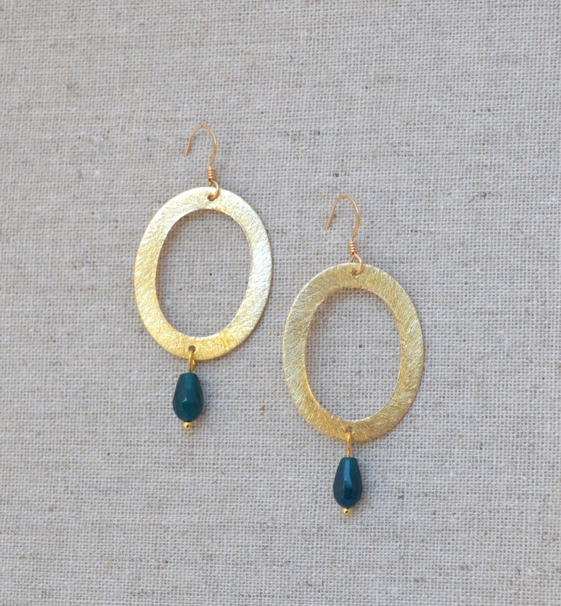 Gold Oval Hoop Round Pendant Sapphire Teal Jade Tear Drop image 0