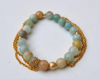 Amazonite Gemstone Tassel Chain Stretch Bracelet // Gold Filled // Stainless Steel Chain // Elastic Tassels Fringe Bracelets Boho Beach