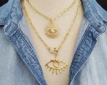 Gold Evil Eye Necklace,  Large Pendant Necklace,  CZ Pave Necklace,  Evil Eye Lashes Paperclip Chain Necklace Statement Boho