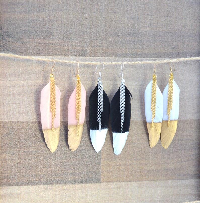 Genuine Feather Tassel Fringe Drop Dangle Earrings // Boho image 0