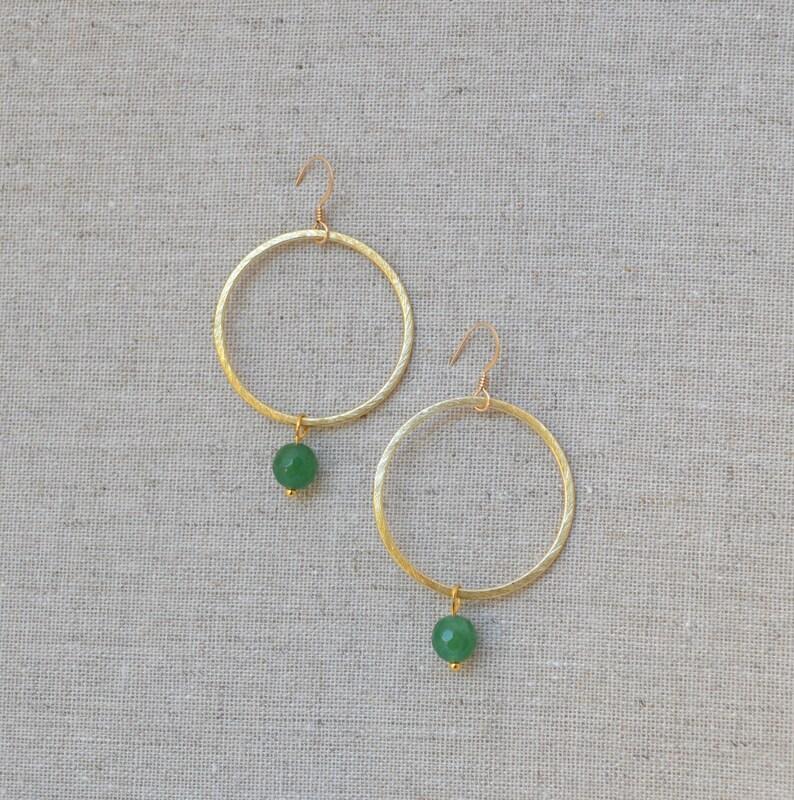 Gold or Silver Gemstone Hoop Circle Dangle Drop Earrings // image 0