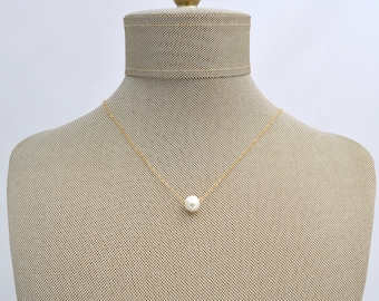 Fresh Water Floating Pearl Gold Filled OR Sterling Silver Necklace // Bridesmaids Gift // Layering Necklace // Minimalist Dainty