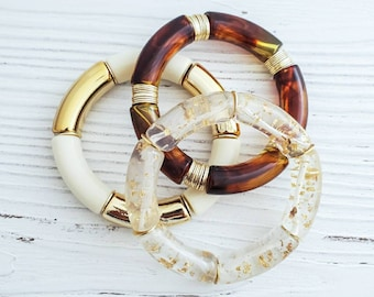 Glitter Bamboo Bangles Bracelets, Chunky Acrylic Tube Bracelets, Layering Stack Bracelets, Gold Heishi  Neutral Tortoise Clear Ivory