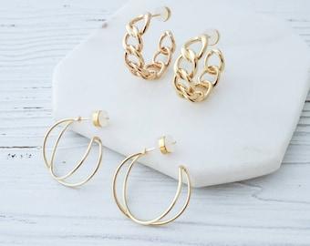 Cuban Chain Link Small Hoops, Crisscross Hoop Earrings 18k Gold Plated Hoops Earrings Dainty Light Weight Trendy Hoop Earrings Minimalist