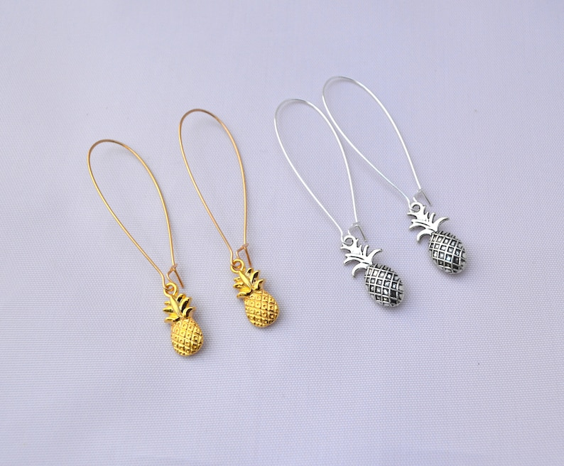 Gold OR Antique Silver Pineapple Charm Pendant Dangling image 0