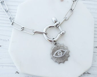 Silver Evil Eye Choker, Paperclip Chain Necklace, Shackle Carabiner Necklace, Horseshoe Clasp Choker Necklace Silver Sunburst Charm Necklace