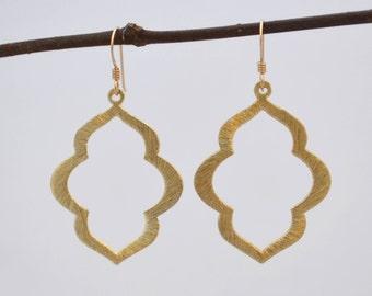 Marquise Flower Dangle Drop Earrings // Gunmetal Gold Filled Sterling Silver Stainless Steel // Bridesmaids gift // Minimalist Earrings