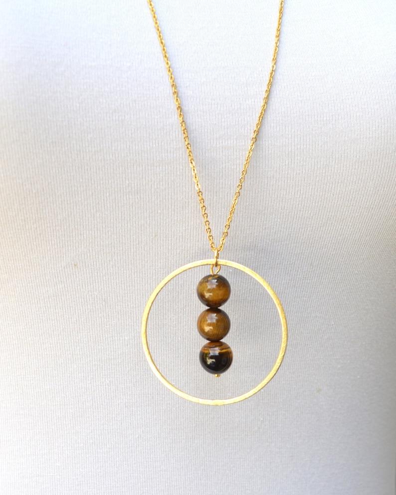 Gold Beaded Halo Circle Large Pendant Necklace // Tiger Eye  image 0