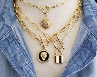 Toggle Necklace Chunky Paperclip Chain Choker Charm Necklace, Layering Carabiner Necklace, CZ Lion Gold Lock Evil Eye Pendant Charm Necklace