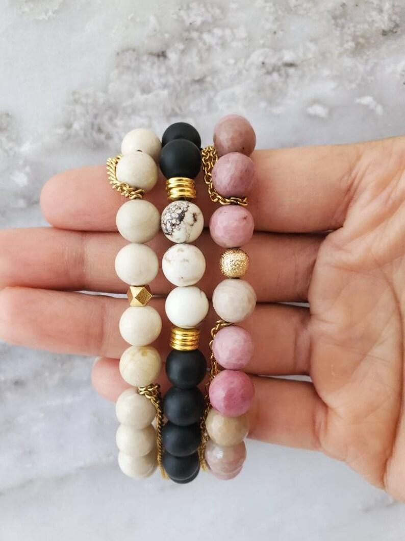 SERENITY Stack Set / Gemstone Chakra Tassel Chain Stretch image 0