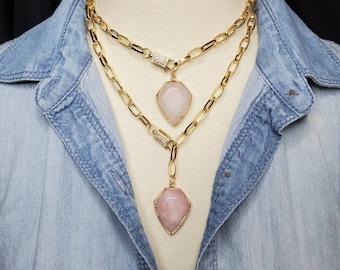 Gemstone Diamond Arrow Necklace, Gold Chunky Rolo Chain Necklace, Pave Clasp Necklace, Rose Quartz Pendant Necklace, Y Lariat, Marque Charm