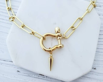 Gold Spike Charm Necklace,  Shackle Carabiner Necklace,  Punk Boho Retro Choker Necklace,  Chunky Paperclip Chain Necklace,  Carabiner Clasp