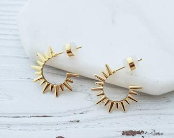 Spike Hoop Earrings 18k Gold Heavy Plated Open Hoops Earrings Dainty Earrings Sunburst Hoops Skinny Spiked Light Weight Trendy Small Hoops
