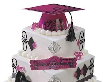 Pink And Black Plastic Graduation Cap Cake Kit With Two Plaques