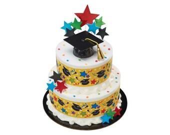 Black Plastic Graduation Cap Cake Kit