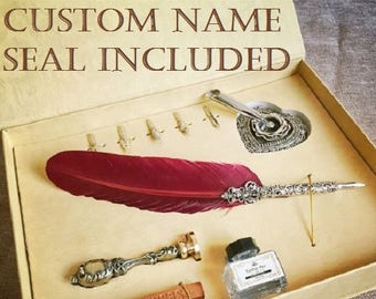 Custom Name Seal Gift box, Metal Curved Natural Turkey Feather Pen Set with 5 nibs, pen stand, Wax, Quil Vintage Harry Potter
