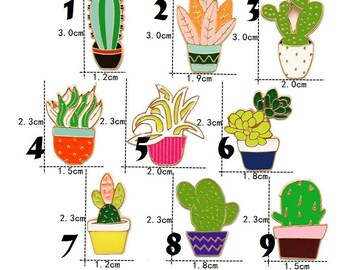 desert plant cactus succulent terrarium house plant gift enamel pin badge