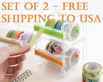 2PC Washi Tape Dispenser Storage Case / Masking Tape Organizer / Tape Holder / Tape Cutter / Tape Dispenser (Free Shipping to USA)