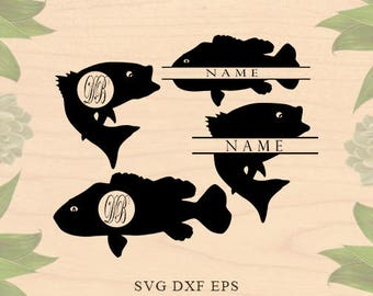 Bass fish svg fish monogram svg Fishing svg files for silhouette svg files for Cricut downloads Cricut files Animal monogram see svg DXF Eps
