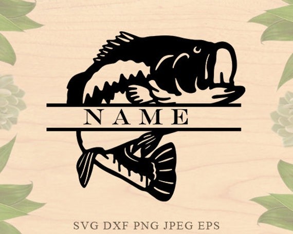 Download Bass Fish Svg Fish Monogram Svg Fishing Svg Files For Etsy
