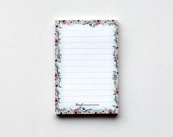 Floral Memo notepad, To do list notepad, Magnetic illustrated pad, greetings notepad, cute notepad, beautiful flowers, desk pad