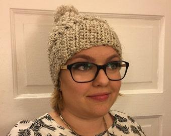 Hand Crochet Pom Pom Hat Wheat, Wheat Puff Beanie w/ Pom Pom, Wheat Crochet Hat