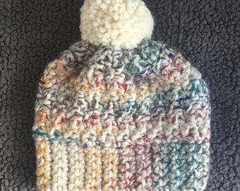 Hand Crochet Pom Pom Hat, Beanie w/ Pom Pom, Crochet Hat, Crocheted Beanie Pom